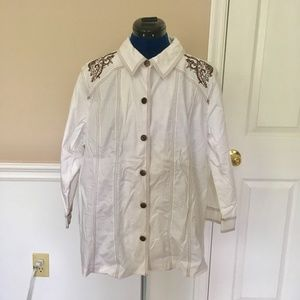 susan graver style womens l white western shirt bu